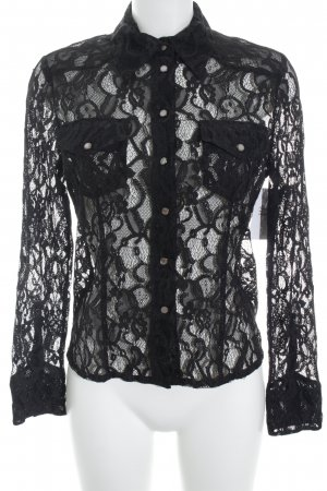 Nice Connection Blusa de encaje negro elegante