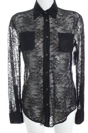 Nice Connection Blusa de encaje negro estampado floral elegante
