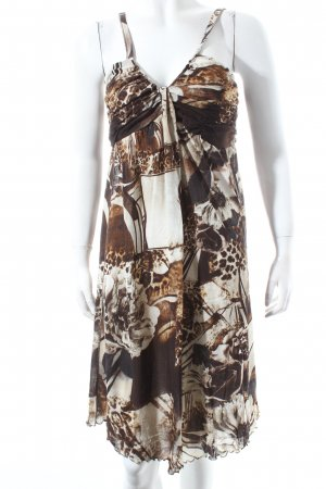 Nice Connection Trägerkleid beige-dunkelbraun florales Muster Beach-Look