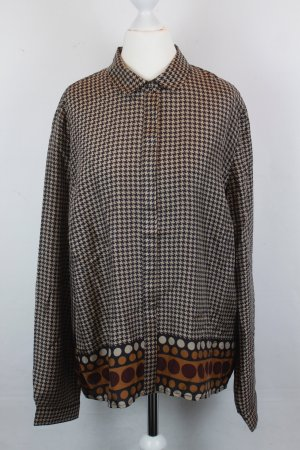 NICE THINGS Bluse Seidenbluse Gr. 38 braun/beige Muster NEU mit Etikett