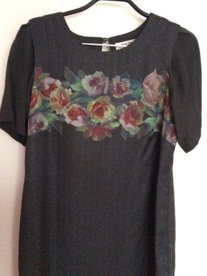Nice things graues-grünes Kleid mit Blumendruck