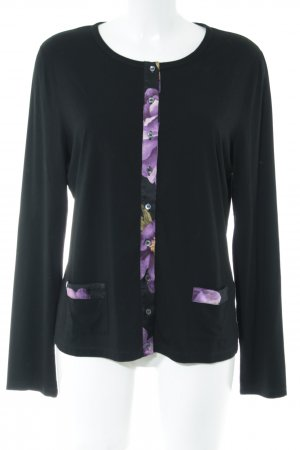 niceconnection Chaqueta estilo camisa negro-lila estampado floral look casual