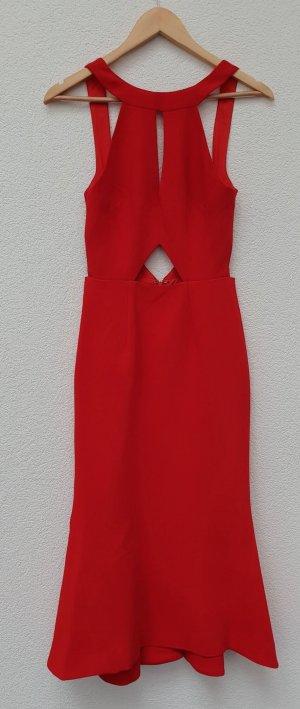 Nicholas Cutout Crepe Midi Kleid Rot