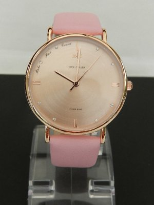 Watch With Leather Strap pink-gold-colored