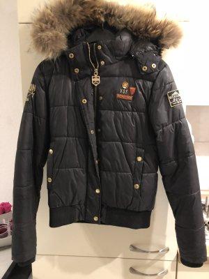 Nickelson Winter Jacke / Daunen Jacke mit Pelz Kragen schwarz Gold
