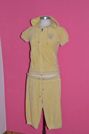 Nicki-Trainigsanzug in hellem gelb mit Kapuze Gr. S (Hose) Gr. M (Oberteil)