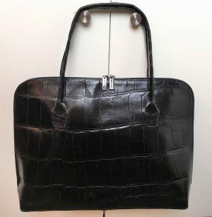 * NICOLI * große BUSINESS TASCHE SCHULTER schwarz LEDER KROKO DIN A 4 Klassisch