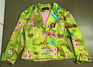 * NICOWA * 100% SEIDEN BLAZER Jacke festlich hellgrün  Motiv Schuhe Tasche rosa 40 L