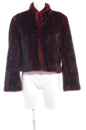 Nicowa Giacca di pelliccia nero-rosso scuro stile casual