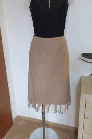 Nicowa Fringed Skirt beige-oatmeal wool