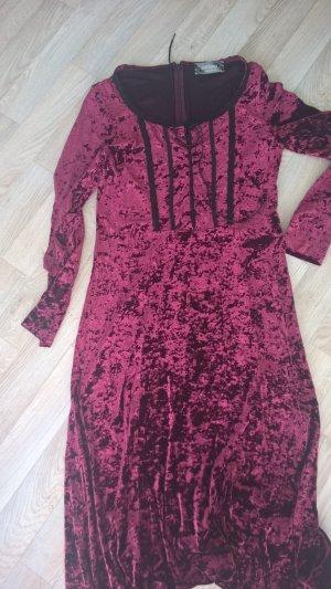 Nicowa Gothic Kleid samt dunkelrot