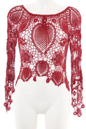 Nicowa Gehaakt shirt rood Webpatroon feest stijl