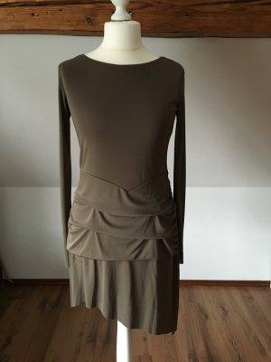 Nicowa Kleid Langärmlig Alltag Khaki Raffung Italienische Mode 42 L 40