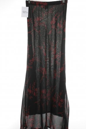 Nicowa Maxirock schwarz-karminrot florales Muster schlichter Stil