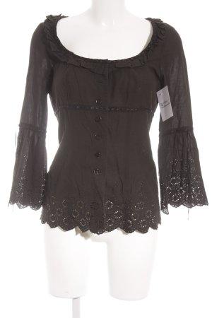 Nicowa Rüschen-Bluse schwarz Rüschenbesatz