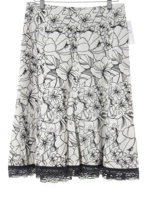 Nicowa Skaterrock schwarz-weiß florales Muster Casual-Look