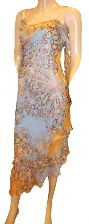 NICOWA Sommer Kleid bunt Pailetten Gr. 36/38 Seide