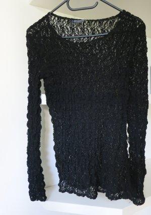 Nicowa Vintage Modern Woman stylisches Rippshirt Longtop schwarz Gr S