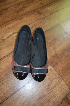 H&M Patent Leather Ballerinas black-pink