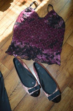 H&M Patent Leather Ballerinas black-pink