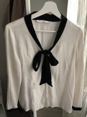 Zara Blusa con lazo crema-negro