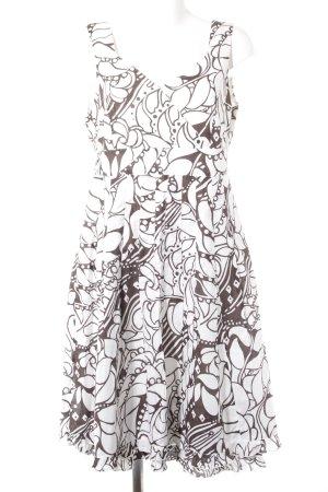 Nienhaus Abito scamiciato bianco-marrone scuro motivo floreale stile casual