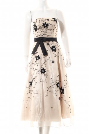 Niente Ballkleid schwarz-creme florales Muster Elegant