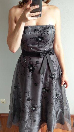 Niente Kleid Midi Abendkleid Cockteilkleid Abiballkleid Grau Silber Gr 40