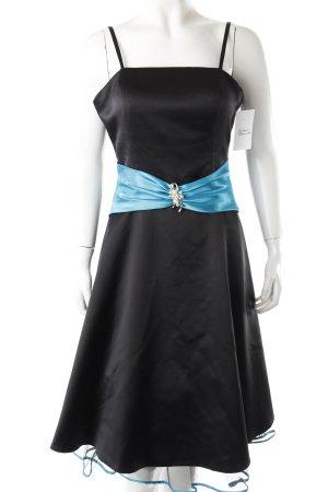Nientie Abendkleid türkis-schwarz Glanz-Optik
