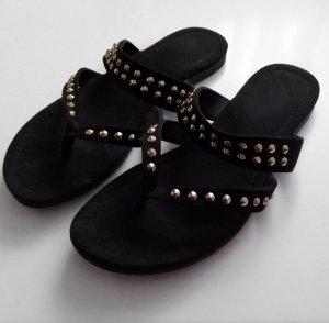 Sandalo infradito nero-oro