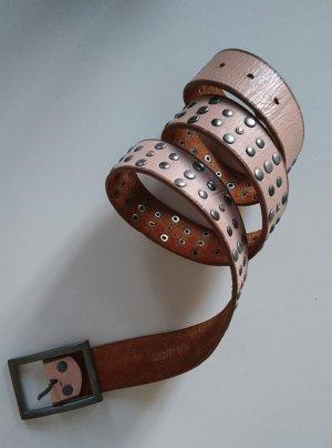 Nieten Gürtel in rosa - Echtleder