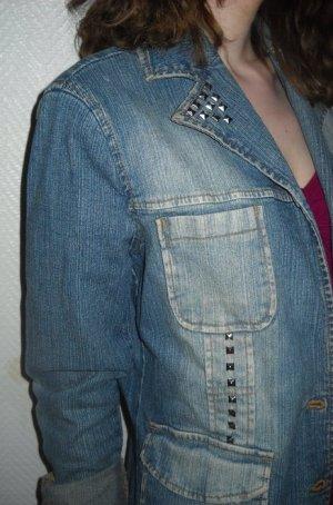 Nieten Jeans Blazer Jacke Only blau Revers Waschung used look 34 36 38 XS S H M