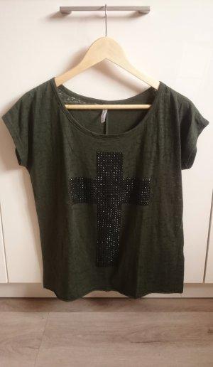 Nieten Shirt khaki/oliv Gr. XS