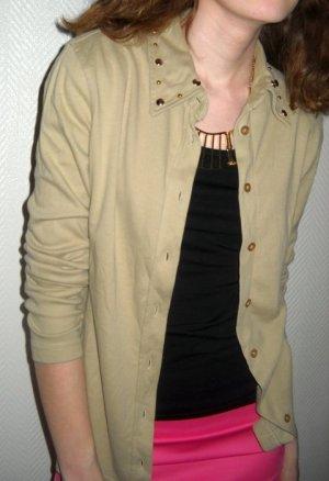 Nieten Studs Kragen Bluse Cardigan Jacke Esprit beige Langarm 34 36 38 XS S M