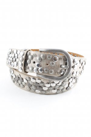 Studded Belt cream-silver-colored metallic look