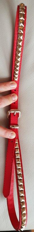 Nietengürtel, Gürtel mit goldenen Nieten, rot, H&M,  95cm