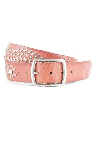 Cinturón de pinchos rojo claro-color plata estilo gitano