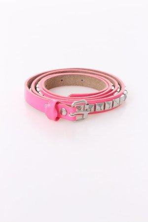 rivets silver-studded belt neon pink