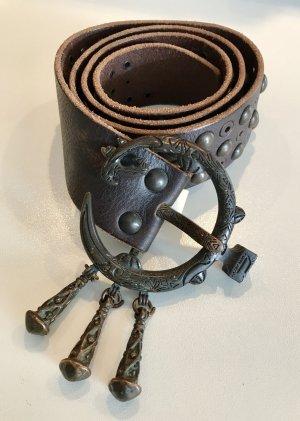 Diesel Ceinture cloutée brun foncé cuir