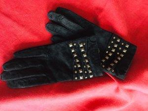 Gants en cuir noir-argenté