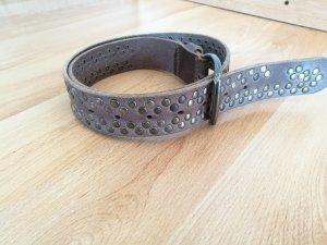 Studded Belt grey brown leather