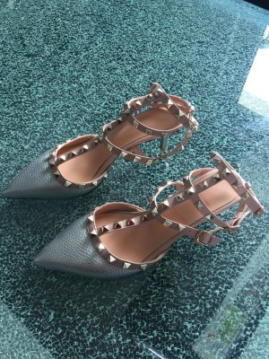 Strapped pumps light grey-light pink imitation leather