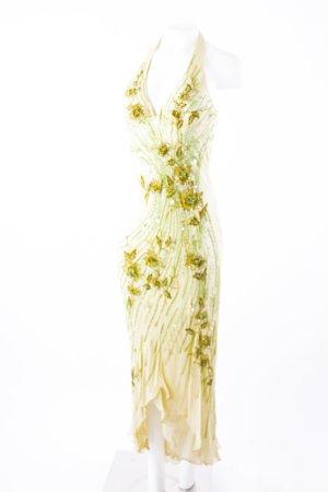 NIGHTSCENE COUTURE - Abendkleid mit Perlen Pastellgelb-Grün