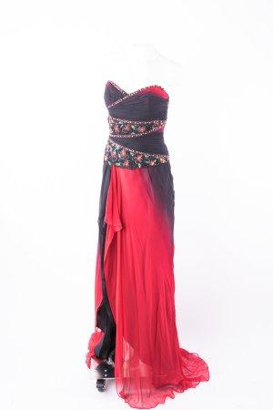 NIGHTSCENE COUTURE - Abendkleid mit Schleppe Schwarz-Rot Seide