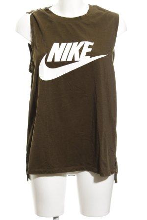 Nike A-Linien Top grüngrau Schriftzug gedruckt sportlicher Stil