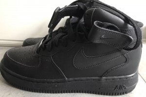"Nike Air Force One High ""All Black"" AF1 Gr 39 Max Leder Schwarz"