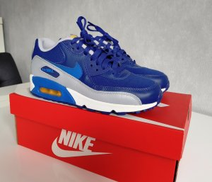 Nike Air Max 90 GS Sneaker Turnschuhe Damen Kinder Bleu Royal 5.5Y EUR 38 NEU!!!