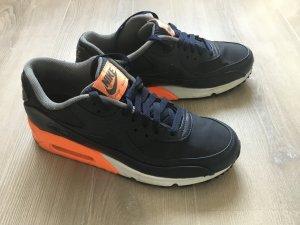 Nike Air Max 90 Premium Dark Obsidian dunkel blau orange weiß - 42