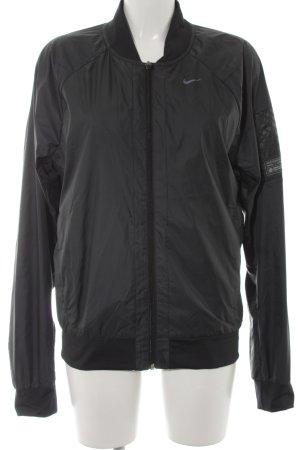 Nike Bomberjacke anthrazit-schwarz Schriftzug gedruckt Casual-Look