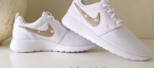 Nike Crystal Sneakers Roshe weiß mit Glitzer Strass in Gold  39 NEU OVP